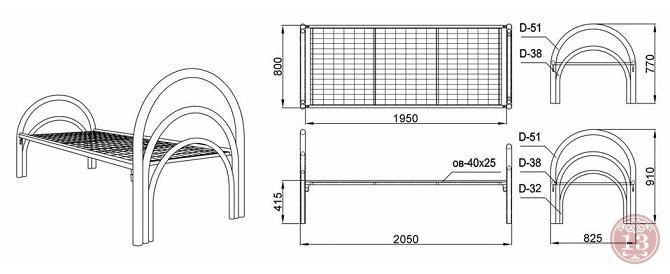 Купить металлические односпальные и двухспальные кровати в Новосибирске