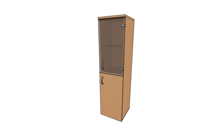 Шкаф низкий узкий со стеклом Континент ЛФ229