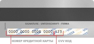 3 последние цифры на полосе для подписи на обороте карты