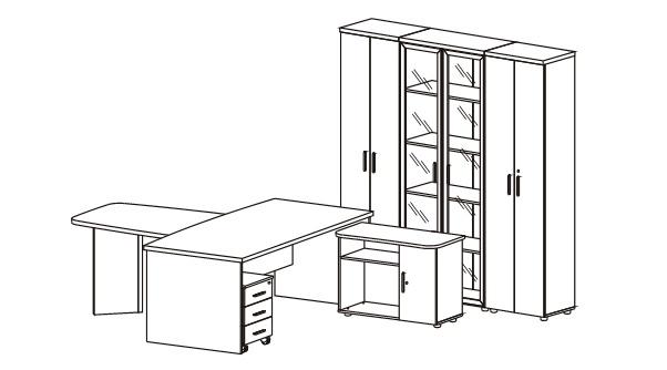 Кабинет руководителя Цезарь 7 со шкафами