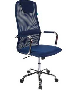 Кресло руководителя Бюрократ KB-9/DB/TW-10N синий TW-05N TW-10N сетка крестовина хром