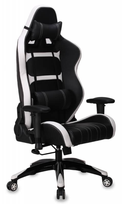 Кресло игровое Бюрократ CH-772/BLACK+WH белый/черный искусственная кожа (пластик черный/белый)