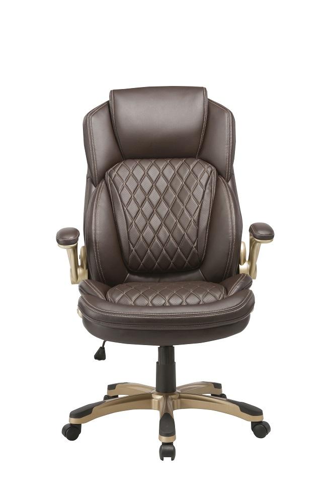 Кресло руководителя Бюрократ T-9915A/BROWN коричневый кожа/кожзам (пластик золото)