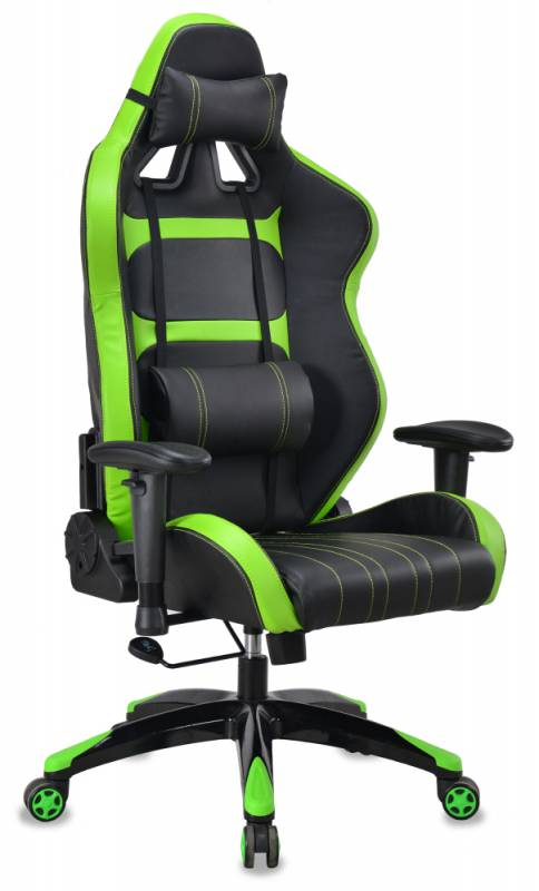 Кресло игровое Бюрократ CH-772/BLACK+SD черный/салатовый искусственная кожа (пластик черный/салатовый)