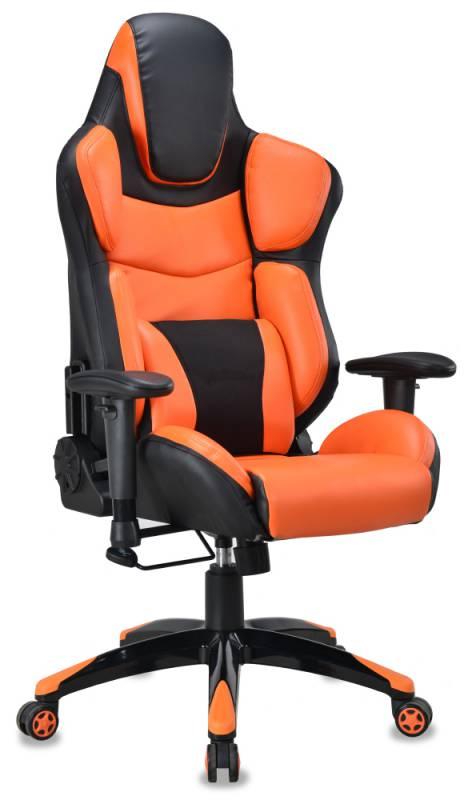 Кресло игровое Бюрократ CH-773/BLACK+OR две подушки черный/оранжевый искусственная кожа (пластик черный)