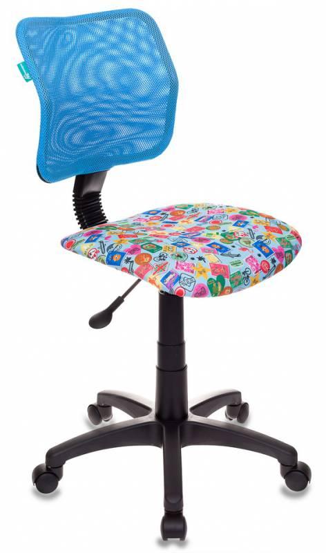 Кресло детское Бюрократ CH-295/LB/MARK-LB спинка сетка голубой марки