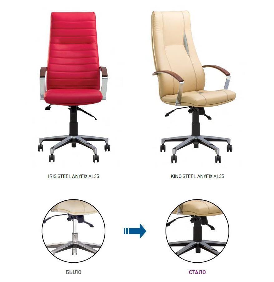 кресла KING и IRIS на механизме ANYFIX комплектуются газлифтом с пластиковой оболочкой черного цвета