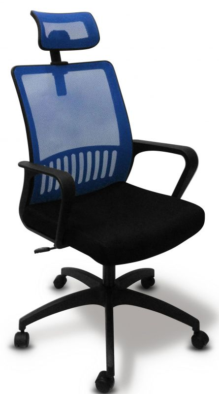Кресло Бюрократ MC-201-H/BL/TW-11 спинка сетка синий TW-05 сиденье черный TW-11