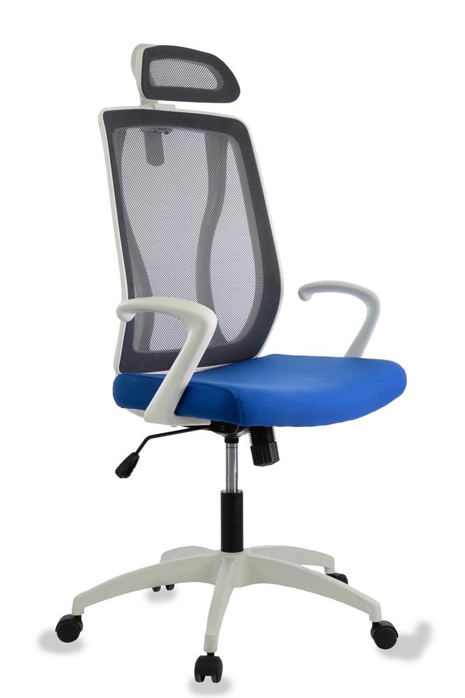 Кресло руководителя Бюрократ MC-W411-H/B/26-21 черный TW-01 сиденье синий 26-21 сетка/ткань (пластик белый)