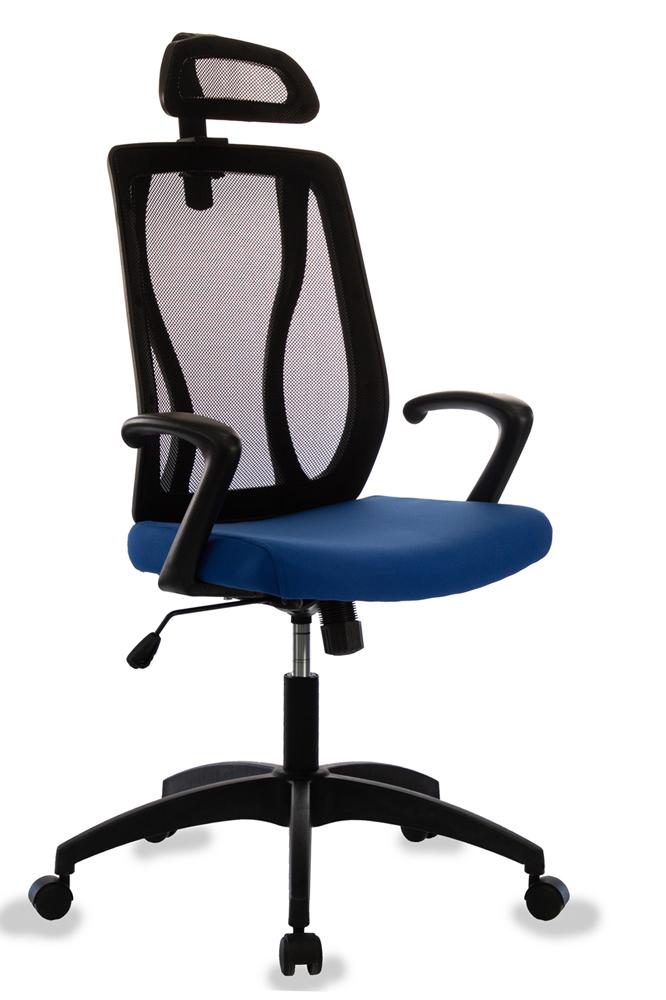 Кресло руководителя Бюрократ MC-411-H/B/26-21 черный TW-01 сиденье синий 26-21