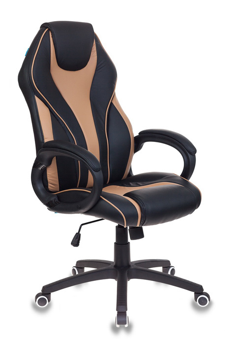 Кресло руководителя Бюрократ T-702/BL+BG черный/бежевый искусственная кожа