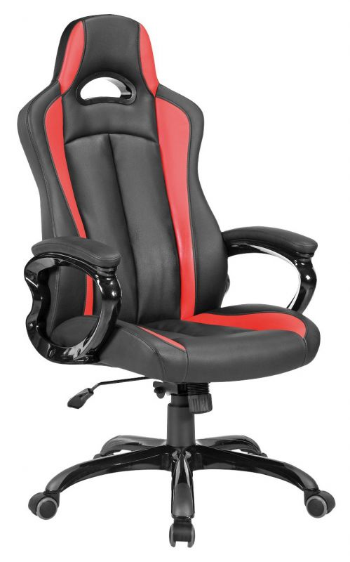 Кресло игровое Бюрократ CH-827/BL+RED черный/красный искусственная кожа
