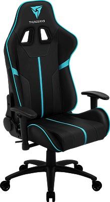 Профессиональное игровое кресло ThunderX3 BC3 BC - черное с отделкой голубая лагуна