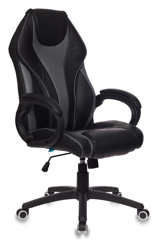 Кресло руководителя Бюрократ T-702/BL+GREY черный/серый искусственная кожа