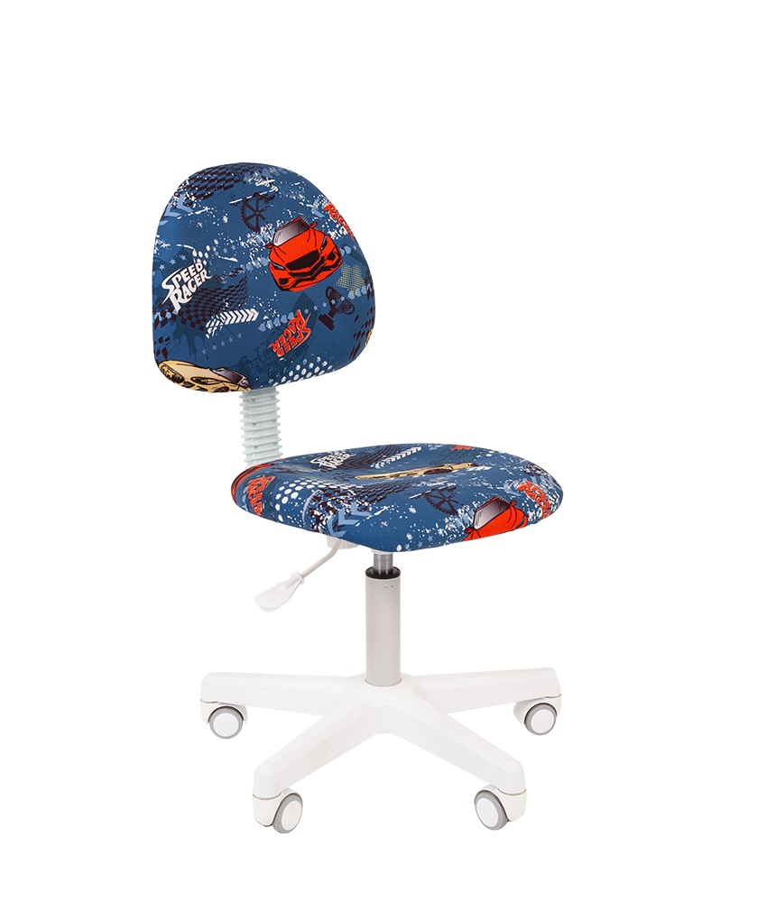 Кресло для детских комнат CHAIRMAN KIDS 104 Ткань велюр с рисунком машинки