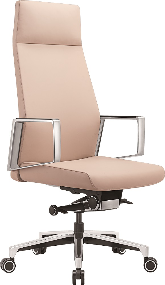 Кресло руководителя Бюрократ _JONS/BEIGE бежевый кожа крестовина алюминий