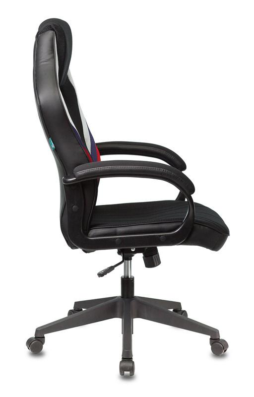 Кресло игровое Бюрократ VIKING 3 AERO RUS белый/синий/красный черный искусст.кожа/ткань